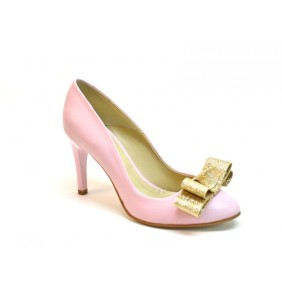 pantofi-din-piele-roz-toc-comod-fundita-auriu-glitter